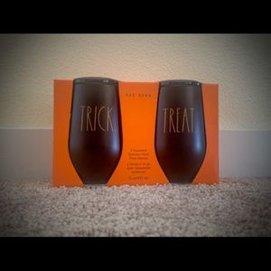 New Rae Dunn Set of 2 Halloween Insulated Stainless Steel 12 oz. Wine Glasses 🎃